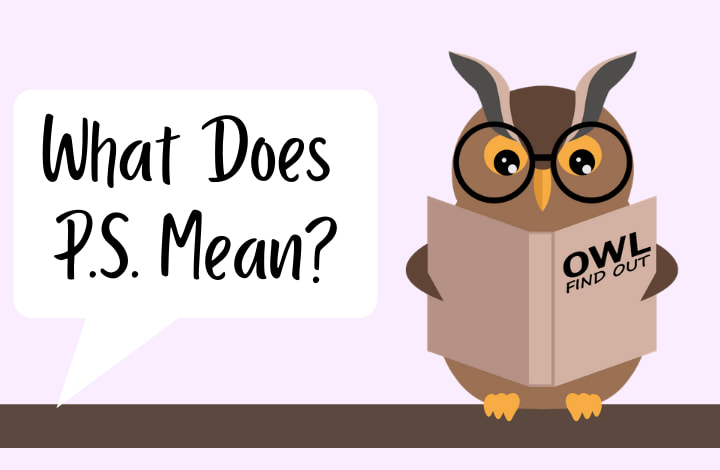 Image of an Owl asking what does ps mean