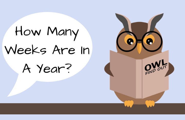 Image with Owl that says: How many weeks in a year?