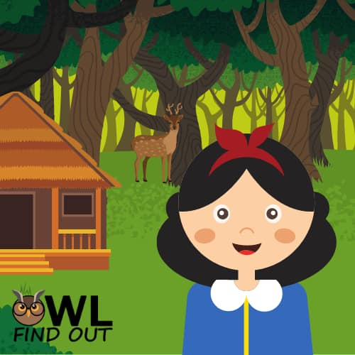 Snow White at the 7 dwarfs cabin in the woods